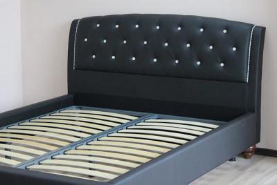 Двуспальная кровать Королевство сна Insigne 160x200 темно-коричневая с кристаллами (с основанием) - ортопедическое основание