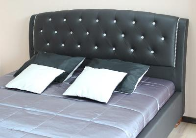 Двуспальная кровать Королевство сна Insigne 180x200 темно-коричневая с кристаллами (с основанием) - изголовье из экокожи с кристаллами