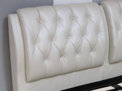 Двуспальная кровать Королевство сна Sophia 180x200 (жемчужная, подъемный механизм) - обивка изголовья из экокожи