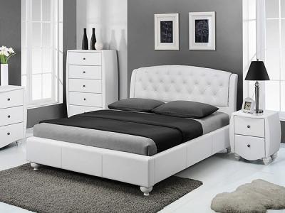 Кровать Королевство сна Insigne 160x200 белая с кристаллами (с основанием) - в интерьере