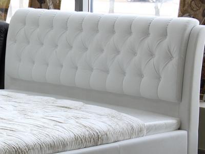 Двуспальная кровать Королевство сна Casa 180x200 (белая, без основания) - изголовье из экокожи