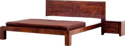 Двуспальная кровать Королевство сна Tahiti 160x200 (медово-коричневая с черным) - общий вид с тумбой
