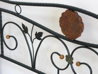 Полуторная кровать Королевство сна PS-8823 140х200 (античный дуб) - кованый узор