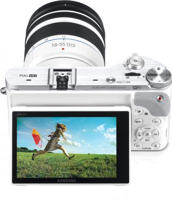 Беззеркальный фотоаппарат Samsung NX300 Kit 18-55mm White-Silver (EV-NX300ZBQURU) - общий вид