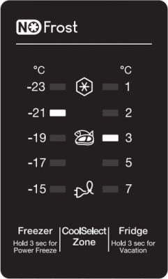 Холодильник с морозильником Samsung RB29FERNCSS/WT - дисплей
