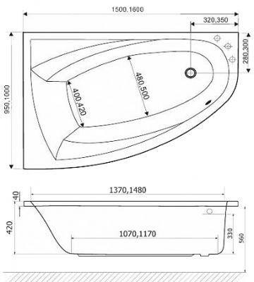 Ванна акриловая Excellent Aquaria Comfort 160x100 R - габаритные размеры