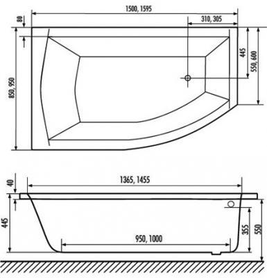 Ванна акриловая Excellent Magnus 150 L - габаритные размеры