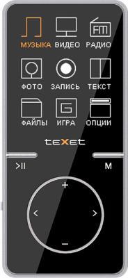 MP3-плеер TeXet T-479 (4GB, черный) - вид спереди
