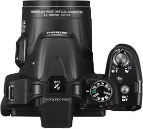 Компактный фотоаппарат Nikon Coolpix P520 Black - вид сверху