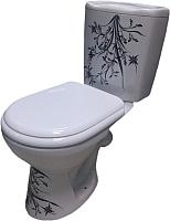 Унитаз напольный Керамин Омега Алкапласт микролифт (жестк. сиденье, ручная роспись) -