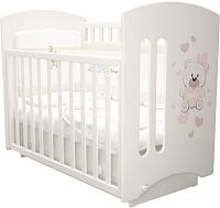 Детская кроватка Laluca Софи Премиум (белый/мишка) -
