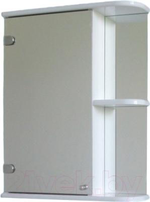 Шкаф с зеркалом для ванной СанитаМебель Камелия-09.50 (левый, белый)