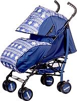 Детская прогулочная коляска Babyhit Smiley (синий/цветы) -