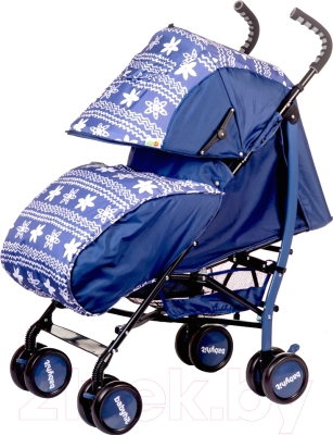 Детская прогулочная коляска Babyhit Smiley (синий/цветы)