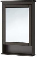 Шкаф с зеркалом для ванной Ikea Хемнэс 302.176.73 (морилка/черно-коричневый) -