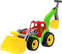 Детская игрушка ТехноК Трактор с двумя ковшами 3671 (красный/зеленый) -