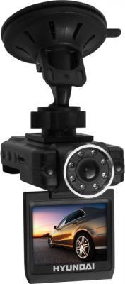 Автомобильный видеорегистратор Hyundai H-DVR10 Black - общий вид с креплением