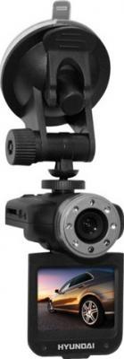 Автомобильный видеорегистратор Hyundai H-DVR14HD (Black) - общий вид с креплением