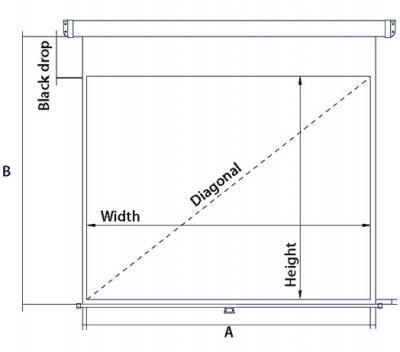 Проекционный экран Mechanische Weberei (MW) Rollo Premium 203x203 - габаритные размеры