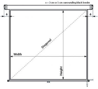 Проекционный экран Mechanische Weberei (MW) Rollo Universal 243x243 - габаритные размеры
