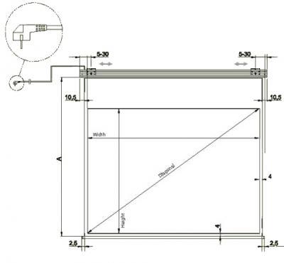 Проекционный экран Mechanische Weberei (MW) Design-Roll IR 200x152 - габаритные размеры