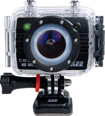 Экшн-камера TeXet DVR-905S (Black) - фронтальный вид в водонепроницаемом боксе