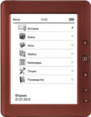 Электронная книга TeXet TB-126SE (Red) - фронтальный вид