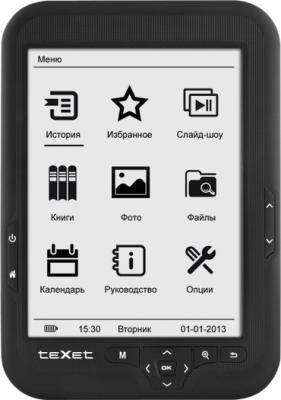 Электронная книга TeXet TB-416 (Black) - фронтальный вид