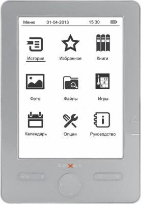 Электронная книга TeXet TB-504 (Gray) - фронтальный вид