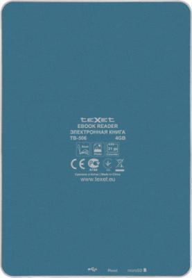 Электронная книга TeXet TB-506 Blue - вид сзади