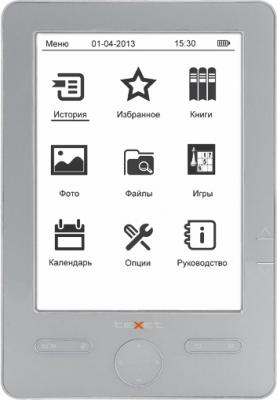 Электронная книга TeXet TB-506 Gray - фронтальный вид