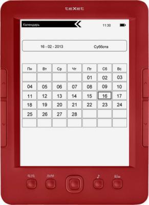 Электронная книга TeXet TB-146SE (Red) - фронтальный вид