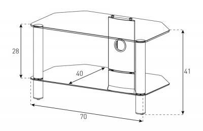 Стойка для ТВ/аппаратуры Sonorous Neo 270 Transparent Glass-Silver - габаритные размеры