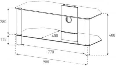 Стойка для ТВ/аппаратуры Sonorous Neo 290 Transparent Glass-Silver - габаритные размеры