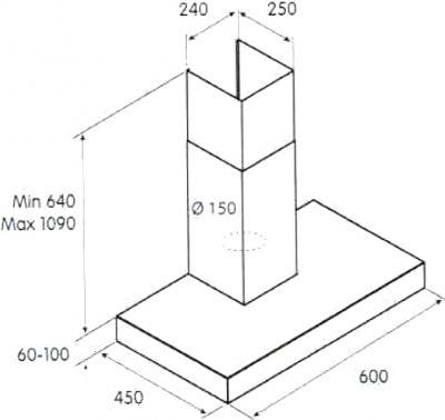 Вытяжка Т-образная Jet Air Veta (60 Inox) - схема