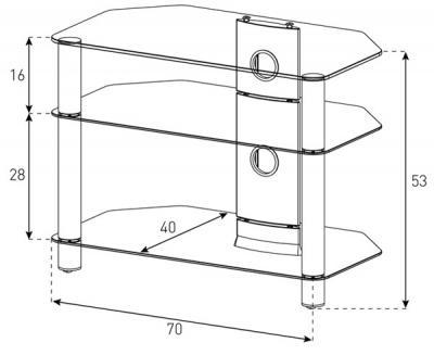 Стойка для ТВ/аппаратуры Sonorous Neo 370 Black Glass-Silver - габаритные размеры