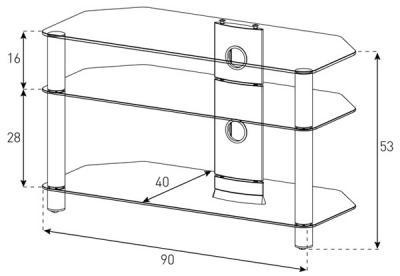 Стойка для ТВ/аппаратуры Sonorous Neo 390 Transparent Glass-Silver - габаритные размеры