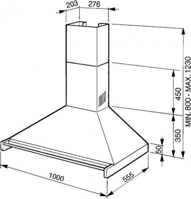 Вытяжка купольная Smeg KD100X-2 - схема