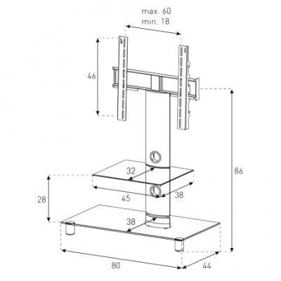 Стойка для ТВ/аппаратуры Sonorous Neo 81 Transparent Glass-Silver - габаритные размеры