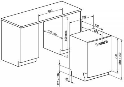 Посудомоечная машина Smeg ST2FABR2 - схема встраивания