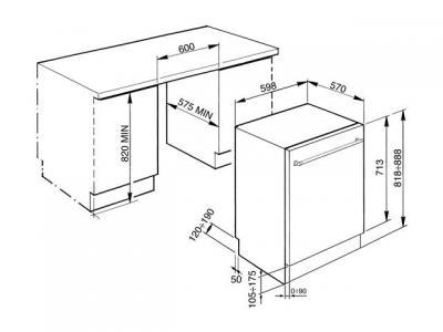 Посудомоечная машина Smeg STA6445-2 - схема встраивания