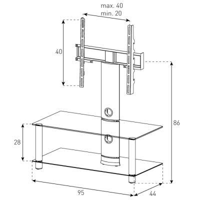 Стойка для ТВ/аппаратуры Sonorous Neo 95 Transparent Glass-Silver - габариты