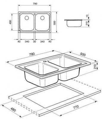 Мойка кухонная Smeg SP792N - габаритные размеры