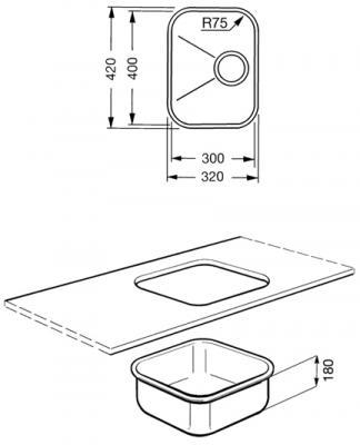 Мойка кухонная Smeg UM30N - габаритные размеры