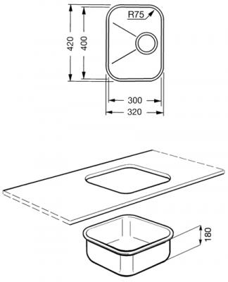Мойка кухонная Smeg UM30OT - габаритные размеры