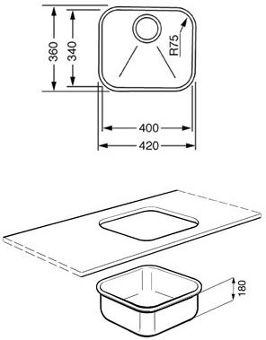 Мойка кухонная Smeg UM40 - габаритные размеры