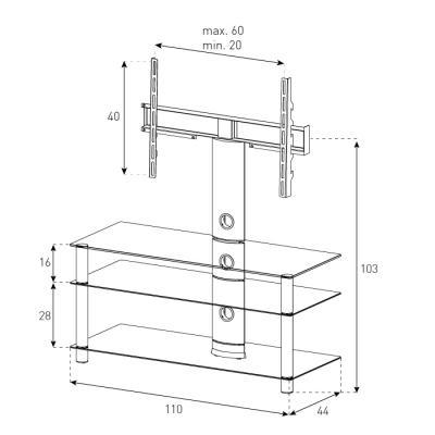 Стойка для ТВ/аппаратуры Sonorous Neo 1103 Transparent Glass-Silver - габаритные размеры