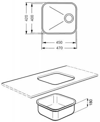 Мойка кухонная Smeg UM45OT - габаритные размеры