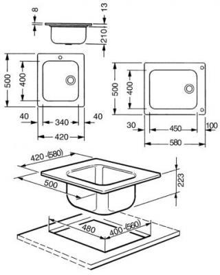 Мойка кухонная Smeg VS45P3RA - габаритные размеры