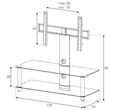 Стойка для ТВ/аппаратуры Sonorous Neo 110 Black Glass-Black - габаритные размеры